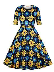 cheap -Women's A Line Dress - Half Sleeve Print Yellow S M L XL XXL / Cotton