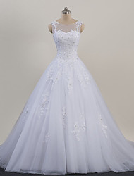cheap -A-Line Wedding Dresses Scoop Neck Court Train Organza Sleeveless Sexy Wedding Dress in Color with Appliques 2020