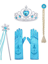 cheap -Princess Elsa Gloves Outfits Princess Cosplay Jewelry Accessories Girls' Movie Cosplay Halloween Purple Yellow Blue Gloves Crown Wand Children's Day Masquerade Rhinestone Fabric Plastic