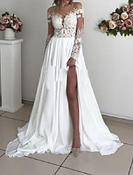 cheap -A-Line Wedding Dresses Off Shoulder Sweep / Brush Train Chiffon Taffeta Stretch Satin Long Sleeve Country Sexy Plus Size with Lace Appliques Split Front 2020