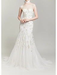 cheap -Mermaid / Trumpet Wedding Dresses Halter Neck Sweep / Brush Train Polyester Cap Sleeve Country Plus Size with Lace Embroidery Appliques 2020