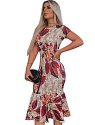 cheap -Women's Maxi Sheath Dress - Short Sleeves Geometric Daily Red S M L XL