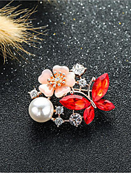 cheap -Women's Cubic Zirconia Brooches Classic Flower Shape Stylish Simple Classic Brooch Jewelry Dark Red Purple Dark Blue For Party Gift Daily Work Festival