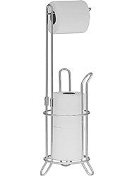 cheap -Freestanding Toilet Paper Roll Holder and Dispenser For Bathrooms Silver Toilet Stand with Extra Roll Storage For Up To 4 Rolls