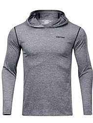 cheap -Men's Solid Colored T-shirt - Cotton Daily Hooded Light gray / Dark Gray / Long Sleeve