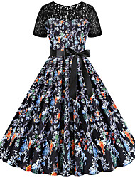 cheap -Women's Sheath Dress - Half Sleeve Floral Print Lace Patchwork Print Sexy Daily Going out Black S M L XL XXL