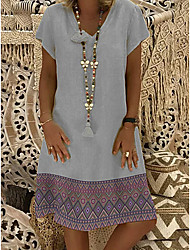 cheap -Women's Shift Dress Short Mini Dress Short Sleeve Print Elegant Blushing Pink Silver S M L XL XXL 3XL