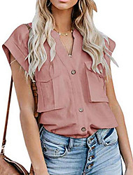 cheap -Women's Blouse Shirt Solid Colored Lace Trims Shirt Collar Tops Cotton Basic Top White Black Blushing Pink