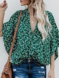 cheap -Women's Floral Print Asymmetric T-shirt Daily V Neck Green