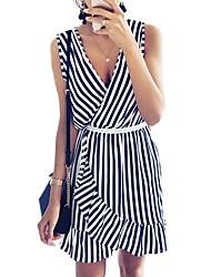 cheap -Women's Blue Dress Shift Striped S M