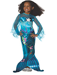 cheap -Mermaid Tail Aqua Princess Dress Flower Girl Dress Girls' Movie Cosplay A-Line Slip Vacation Dress Ocean Blue Dress Christmas Halloween Carnival Elastane Tactel