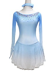 cheap -21Grams Figure Skating Dress Women's Girls' Ice Skating Dress Sky Blue Asymmetric Hem Spandex High Elasticity Training Competition Skating Wear Crystal / Rhinestone Long Sleeve Ice Skating Figure