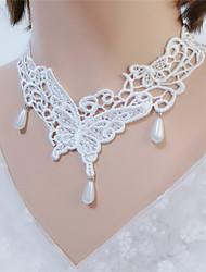 Недорогие -Жен. Ожерелья-бархатки Бабочка Мода Ткань Белый Черный 30+7 cm Ожерелье Бижутерия 1шт Назначение