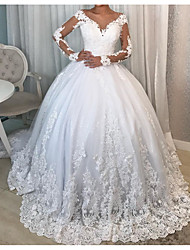 cheap -Ball Gown Wedding Dresses V Neck Court Train Polyester Long Sleeve Country Plus Size with Lace Insert 2020