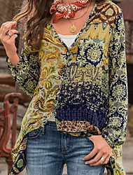 cheap -Women's Geometric Print Shirt - Cotton Daily V Neck Blue / Red / Yellow / Beige