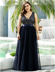 cheap -A-Line Mother of the Bride Dress Vintage Plus Size Plunging Neck Floor Length Tulle Sleeveless with Sequin 2020