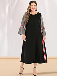 cheap -Women's Plus Size Maxi A Line Dress - Long Sleeve Color Block Solid Color Patchwork Basic Casual Street chic Party Going out Flare Cuff Sleeve Belt Not Included Loose Gray L XL XXL XXXL XXXXL