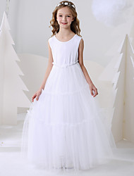 cheap -Ball Gown Floor Length Event / Party Flower Girl Dresses - Polyester Sleeveless Jewel Neck with Pattern / Print