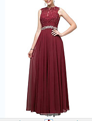 cheap -A-Line Minimalist Red Party Wear Wedding Guest Dress Jewel Neck Sleeveless Floor Length Chiffon Lace with Pleats Crystals 2020