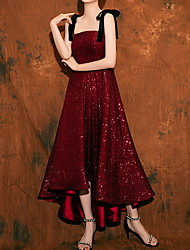 cheap -A-Line Sparkle Red Wedding Guest Prom Dress Spaghetti Strap Sleeveless Ankle Length Polyester with Sequin 2020