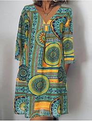 cheap -Women's Shift Dress - Long Sleeve Geometric Summer V Neck Elegant Loose Satin Green Brown S M L XL XXL XXXL XXXXL XXXXXL