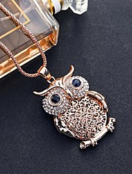 cheap -Women's Blue White Cubic Zirconia Long Necklace Classic Owl Simple Classic Fashion Chrome Gold Silver 80 cm Necklace Jewelry 1pc For Gift Daily Holiday Festival