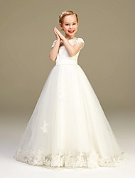 cheap -A-Line Floor Length Party / Pageant Flower Girl Dresses - Tulle / Polyester Short Sleeve Jewel Neck with Lace