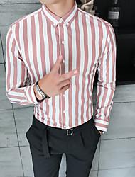 cheap -Men's Striped Color Block Shirt Basic Elegant Daily Going out Blushing Pink / Orange / Dark Gray / Long Sleeve / Skinny