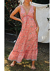 cheap -Women's Sheath Dress Maxi long Dress Sleeveless Print Spring & Summer Boho Blushing Pink S M L XL