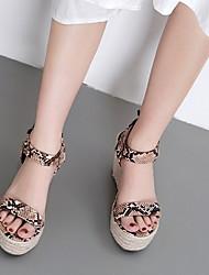 cheap -Women's Sandals Wedge Sandals Heel Sandals Summer Wedge Heel Peep Toe Daily PU Almond