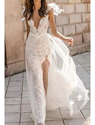 cheap -A-Line Wedding Dresses Plunging Neck Sweep / Brush Train Polyester Sleeveless Sexy Plus Size with Appliques Split Front 2020