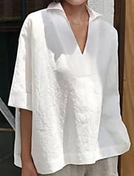 cheap -Women's Solid Colored Asymmetric Blouse Daily Shirt Collar White / Blue / Blushing Pink / Orange