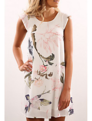 cheap -Women's Shift Dress - Sleeveless Floral Beige S M L XL