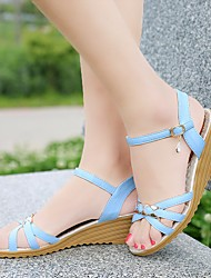 cheap -Women's Sandals Wedge Sandals 2020 Summer Wedge Heel Round Toe Daily Home Rhinestone Faux Leather Blue / Beige