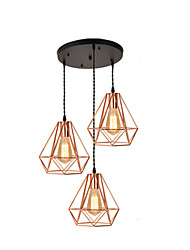 cheap -3-Light 45 cm Single Design Pendant Light Metal Electroplated Country / Nordic Style 110-120V / 220-240V