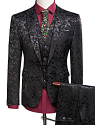 cheap -Tuxedos Tailored Fit Notch Single Breasted One-button Polyester Textured / British / Fashion