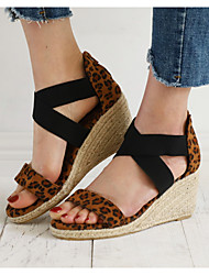 cheap -Women's Sandals Wedge Sandals Summer Wedge Heel Round Toe Daily Snakeskin Pink / Brown / Gray / Animal Print