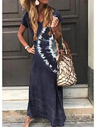 cheap -Women's Maxi long Dress - Short Sleeves Tie Dye Print Summer V Neck Holiday Vacation Loose Green Dark Gray Brown Navy Blue S M L XL XXL XXXL
