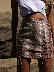 cheap -Women's Bodycon Skirts - Geometric Red Brown Beige S M L