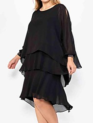 cheap -A-Line Mother of the Bride Dress Sweet Jewel Neck Knee Length Chiffon Satin Long Sleeve with Cascading Ruffles 2020