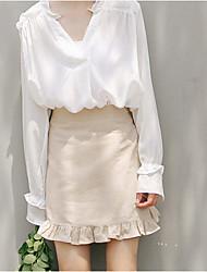cheap -Women's Bodycon / Swing Skirts - Solid Colored Orange Beige S M L