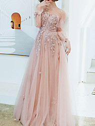 cheap -A-Line Floral Pink Engagement Prom Dress Illusion Neck Long Sleeve Floor Length Tulle with Appliques 2020