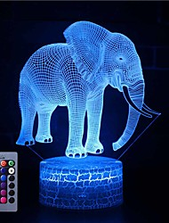 cheap -3D Illusion Night Light Desk Elephant Lamp with Remote Control & Touch Switch 16 Colors Home Decor Gift for Kids