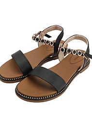 cheap -Women's Sandals Flat Heel Open Toe Rhinestone PU Casual Summer White / Black