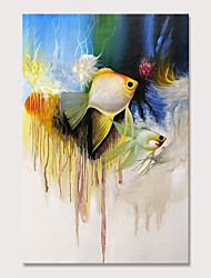 cheap -Mintura Large Size Hand Painted Abstract Fish Animals Oil Paintings on Canvas Pop Art Wall Pictures For Home Decoration No Framed Rolled Without Frame