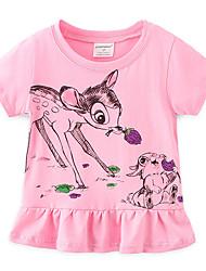 Недорогие -Дети Девочки Активный Rabbit Животное Рюши С короткими рукавами Футболка Розовый