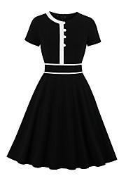 cheap -Women's A Line Dress - Short Sleeves Solid Color Black S M L XL XXL