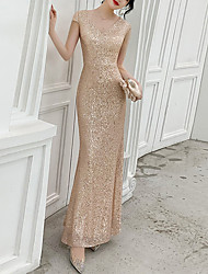 cheap -Mermaid / Trumpet Sparkle Wedding Guest Prom Dress V Neck Short Sleeve Floor Length Sequined with Sequin 2020