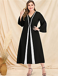 cheap -Women's A-Line Dress Maxi long Dress - Long Sleeve Color Block Solid Color Patchwork V Neck Plus Size Casual Streetwear Going out Flare Cuff Sleeve Black L XL XXL 3XL 4XL