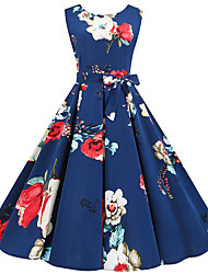 cheap -Women's Rose Sheath Dress - Sleeveless Floral Print Vintage Style Daily Flare Cuff Sleeve Slim Blue S M L XL XXL
